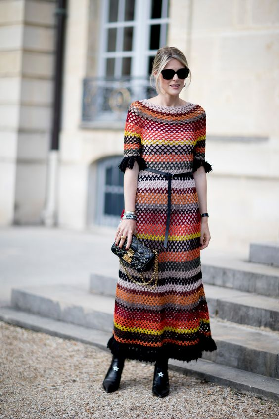Crochet dress earth tones
