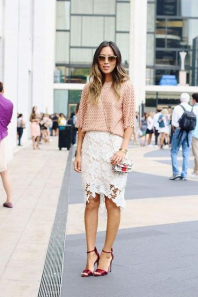 Crochet blouse with half sleeves and white midi lace skirt