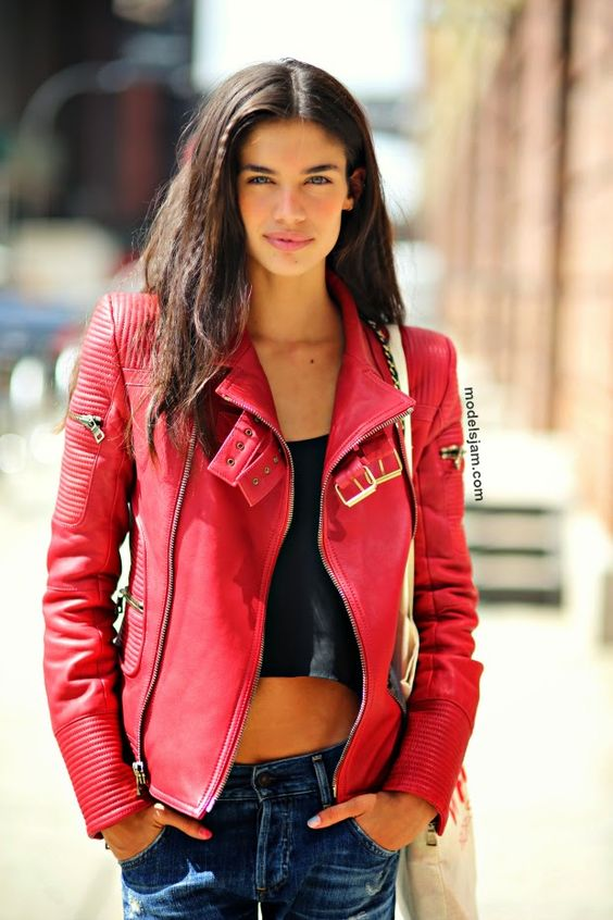 Crop top red leather jacket