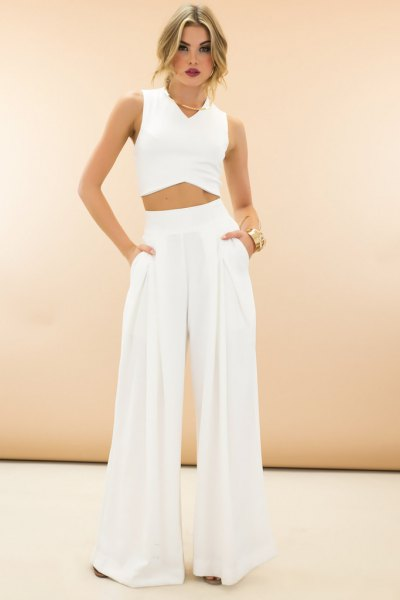 Crop top white high waisted wide leg pants