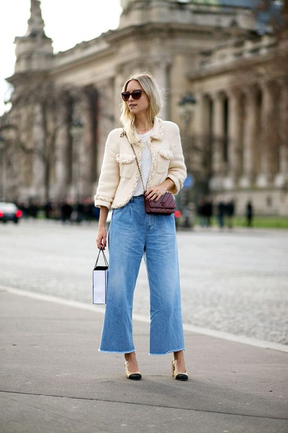 short jeans with a bell bottom