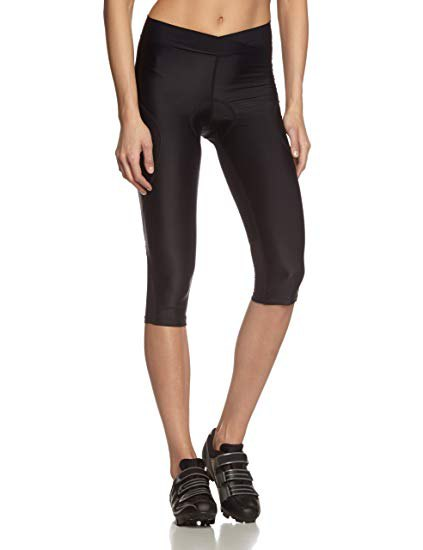 short black cycling leggings with white fee shell