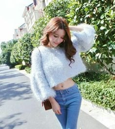 short fuzzy sweater jeans
