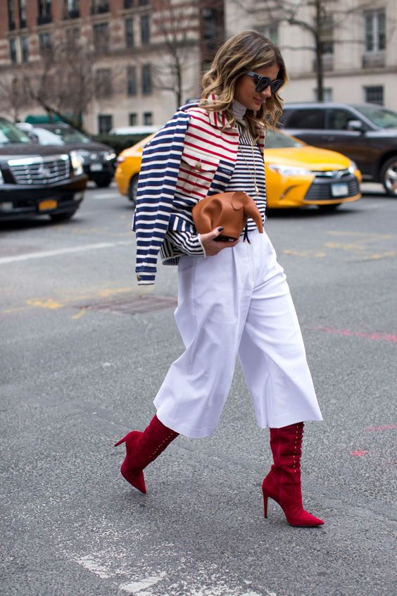 short wide-leg boots, red boots
