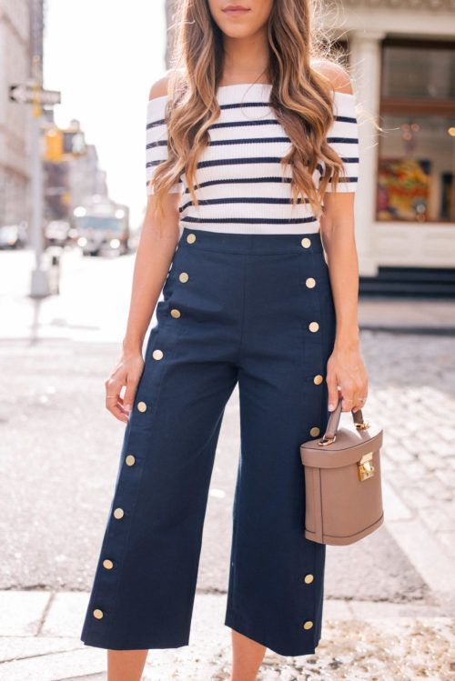 sailor inspired cropped wide leg pants