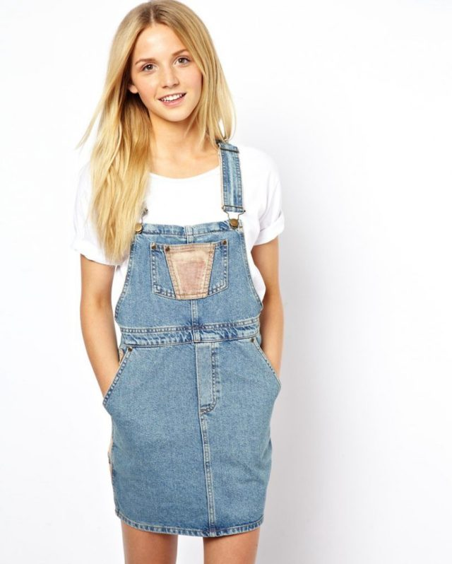 cute denim overall skirt outfit white t-shirt