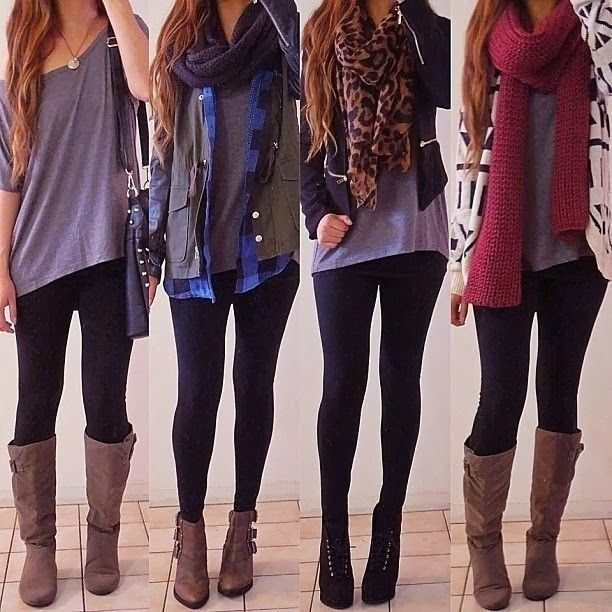4 Outfit Ideas with Leggings and Scarves | Cute outfits with .