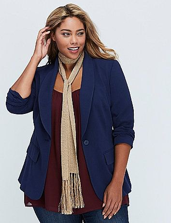 dark blue blazer with a golden sequin fringe scarf and skinny jeans