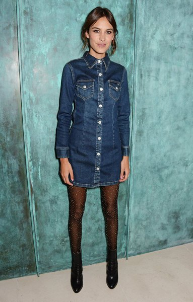 dark blue denim dress with long sleeves and buttons