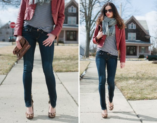 dark blue skinny jeans with ankle zip, brown leather jacket