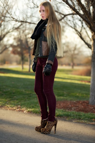 dark brown leather jacket with black corduroy drainpipe jeans