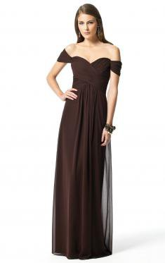 dark brown off shoulder maxi bridesmaid dress