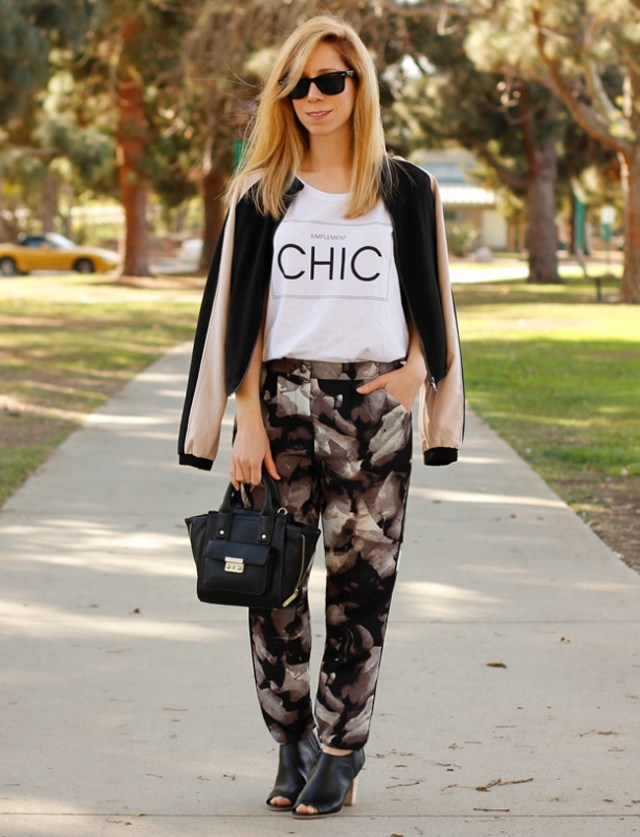 dark jogger pants with floral pattern