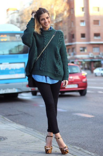 dark green cable knit sweater with blue chambray shirt with buttons