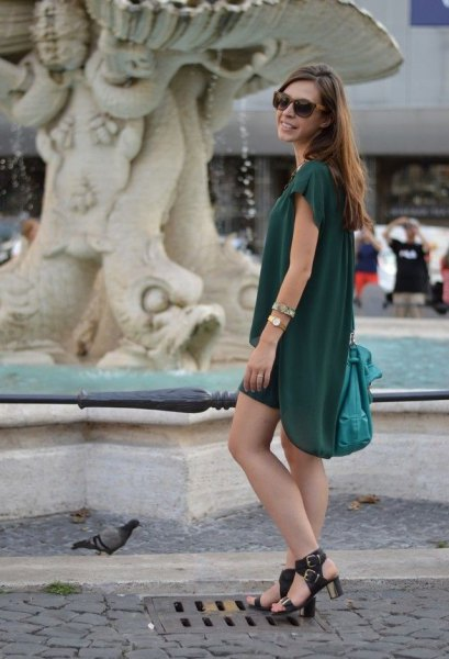 dark green chiffon mini dress with black heels with open toes