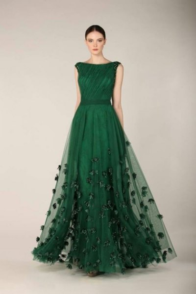 dark green embroidered evening dress made of chiffon