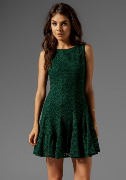 Dark green sleeveless mini dress with fit and flare