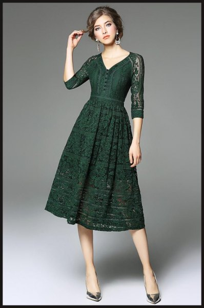 dark green lace dress with three-quarter sleeves