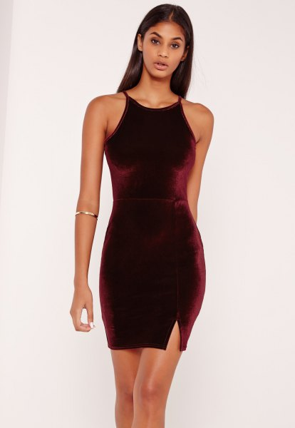 dark green velvet bodycon mini dress gold cuff bracelet