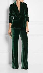 dark green velvet suit jacket with matching wide-leg pants
