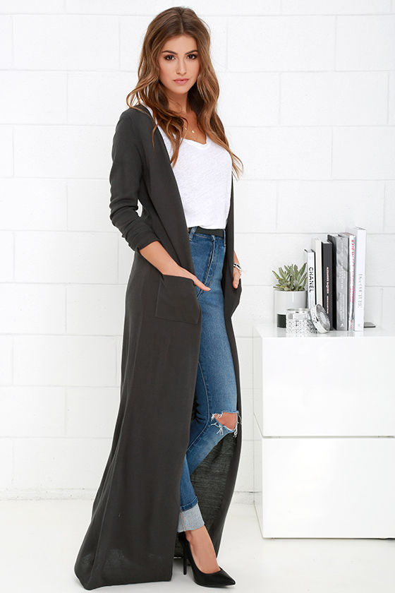 dark gray maxi long cardigan sweater
