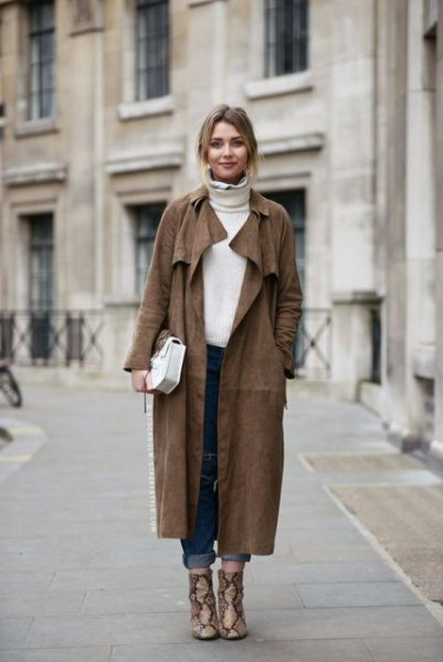 dark gray maxi suede coat with white turtleneck sweater