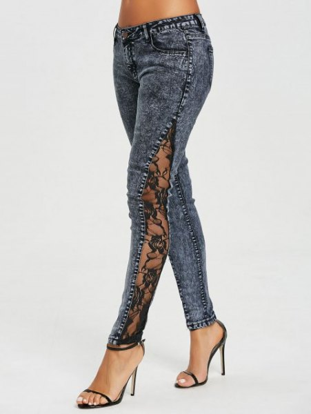 dark gray lace jeans with side slit and black, open toe heels