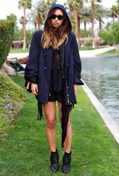 Dark blue jacket with black mini dress and ankle boots