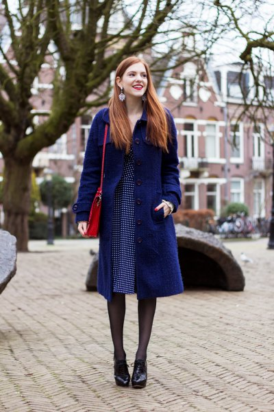 dark blue midi coat with blue polka dot dress