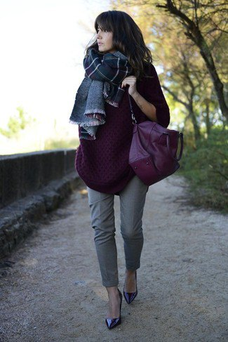 dark purple, chunky sweater with a checked wool scarf