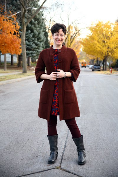 dark red tunic sweater with buttons over the mini dress with leopard print