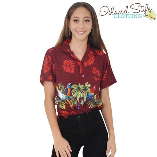 Dark red Hawaiian shirt with black skinny jeans