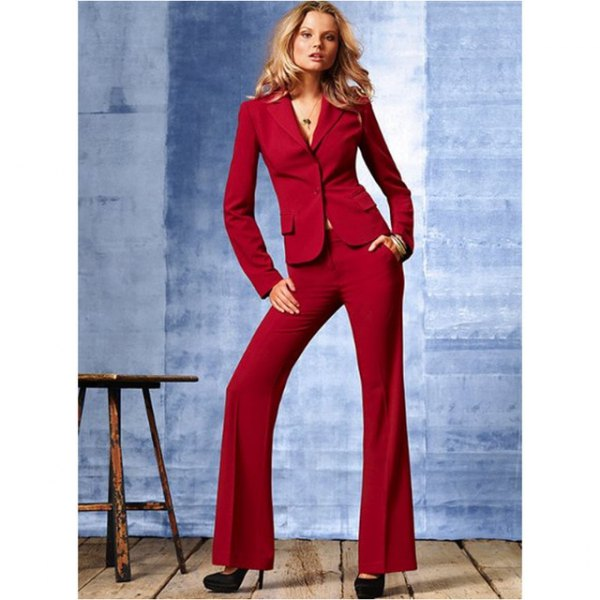Dark red slim fit suit with flared trousers