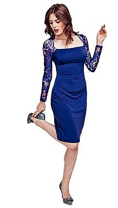 dark blue, long-sleeved, figure-hugging midi dress made of lace