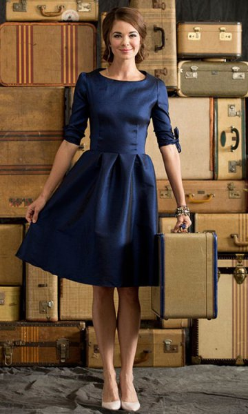 deep blue knee-length party dress with half sleeves