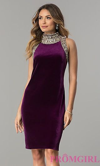 knee-length cocktail dress made of deep purple and silver silk and sequins