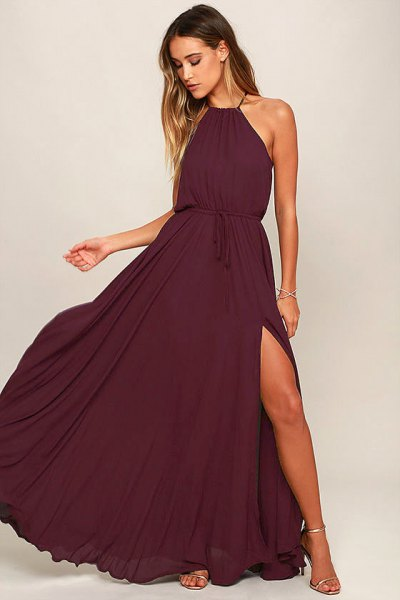 deep purple halter ruched waist maxi flared dress
