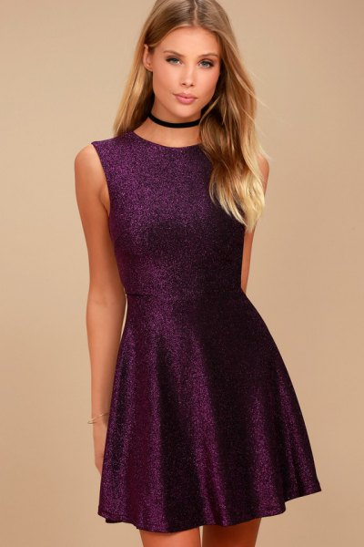 deep purple sleeveless fit and flare mini dress with black collar