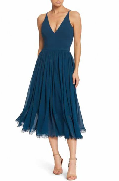 Deep V Neck Fit and Flare Navy Blue Pleated Summer Dress