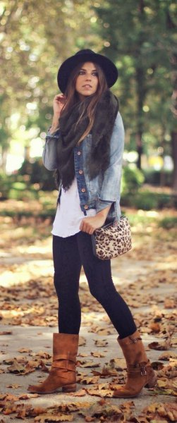 Denim jacket camel wide boots in the middle of the calf