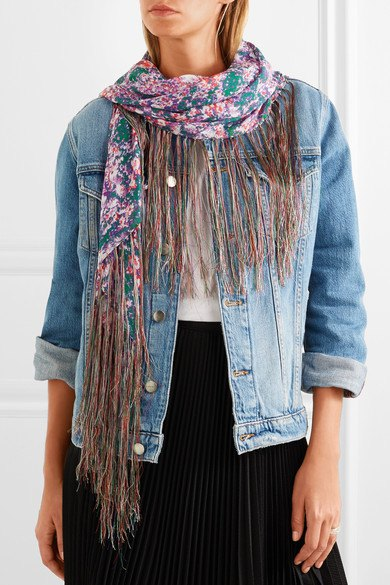 Denim jacket skirt with floral chiffon scarf