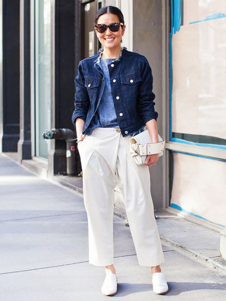 Denim jacket white pants with wide legs
