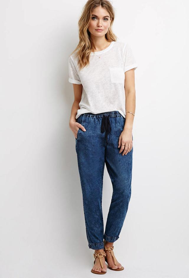 Jeans jogger pants with a white T-shirt