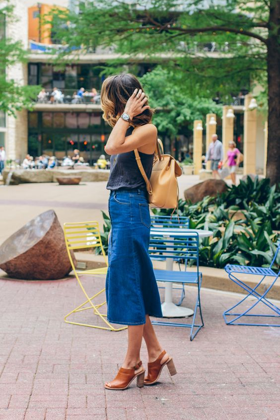 Jeans midi skirt backpack