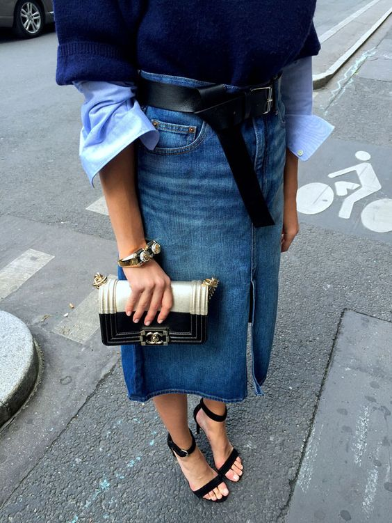 Refined denim midi skirt