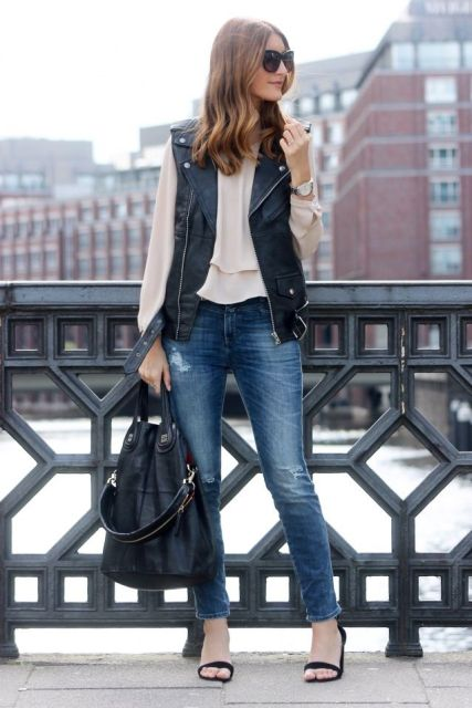 20 Leather Vest Outfits For Ladies - Styleohol