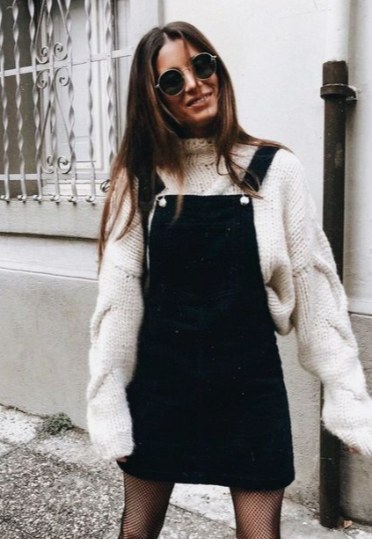 A winter look. Layer a sweater with a overall skirt/dress | Winter .