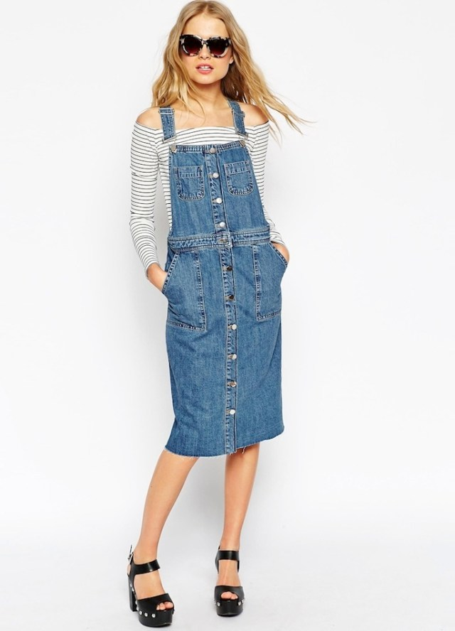 Overall denim skirt removed from the shoulder top