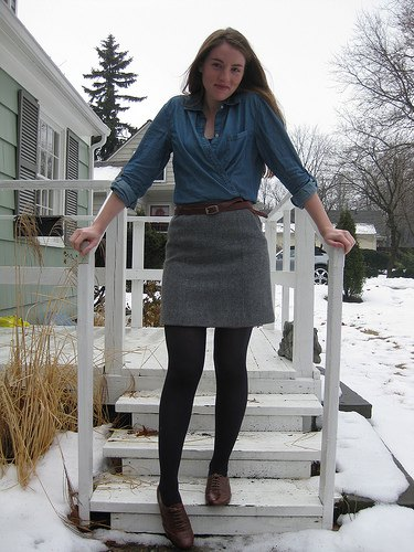 Denim shirt gray mini skirt