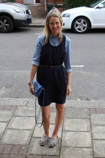 Denim shirt navy blue dress with belt